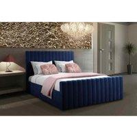 Keesa Contemporary Bed Frame - Plush Velvet, Small Double Size Frame, Blue