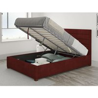Kelly Ottoman Upholstered Bed, Kimiyo Linen, Bordeaux - Ottoman Bed Size Single (to fit mattress size 90x190)