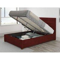 Aspire - Kelly Ottoman Upholstered Bed, Kimiyo Linen, Bordeaux - Ottoman Bed Size Superking (180x200)