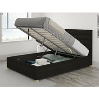 Kelly Ottoman Upholstered Bed, Kimiyo Linen, Charcoal - Ottoman Bed Size Small Double (120x190) - ASPIRE
