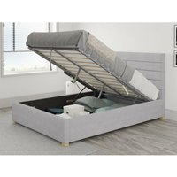 Kelly Ottoman Upholstered Bed, Kimiyo Linen, Silver - Ottoman Bed Size Single (to fit mattress size 90x190)