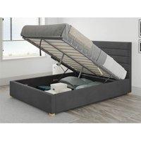 Aspire - Kelly Ottoman Upholstered Bed, Plush Velvet, Steel - Ottoman Bed Size Single (90x190)