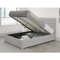 Kelly Ottoman Upholstered Bed, Pure Pastel Cotton, Storm - Ottoman Bed Size Single (to fit mattress size 90x190)