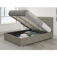 Kelly Ottoman Upholstered Bed, Saxon Twill, Grey - Ottoman Bed Size Single (to fit mattress size 90x190)
