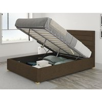 Kelly Ottoman Upholstered Bed, Yorkshire Knit, Chocolate - Ottoman Bed Size Single (to fit mattress size 90x190)