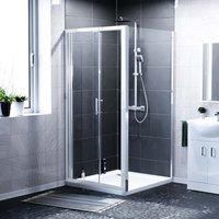 Keni 900mm Bi-Folding Glass Shower Door and Side Panel Chrome
