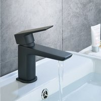 Keninton Bathroom Basin Mono Mixer Black Matt Tap and Waste