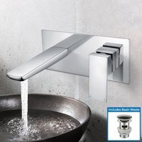 Keninton Wall Mounted Basin Mixer Tap With Basin Waste - NESHOME