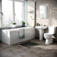 Kentucky 3-Piece Bath Suite Toilet (Eco-Toilet), Pedestal Basin, 1700 Bath, V Tap Set, Bath Screen and Front Panel (Bath and Basin Waste)