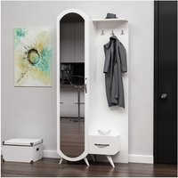 Kerry Hall Unit - Closet, Coat Rack - with Mirror, Door, Drawer, Shelves - White, made in Wood, 80 x 35 x 180 cm - HOMEMANIA