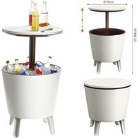 Side Table Drink Cooler Cool Bar Cocktail Table Party Cold Table High Garden Balcony Table 50x57-85cm 30 L braun - weiß (de) - Keter