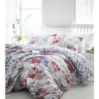 Bedmaker - Kew Fuchsia King Size Duvet Cover Set 100% Cotton 200 Thread Count Reversible Bedding