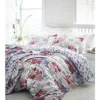 Kew Fuchsia Super King Size Duvet Cover Set 100% Cotton 200 Thread Count Reversible Bedding