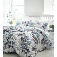 Bedmaker - Kew Teal Super King Size Duvet Cover Set 100% Cotton 200 Thread Count Reversible Bedding