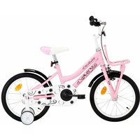 vidaXL Kids Bike with Front Carrier 16 inch White and Pink - Pink