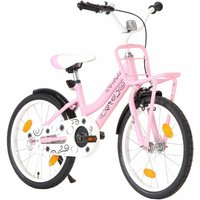vidaXL Kids Bike with Front Carrier 18 inch Pink and Black - Pink