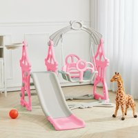 Kids Climber Slide Swing Play Set with Basketball Hoop 3-In-1 Garden Playground,Pink
