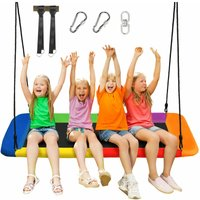 Costway - Kids Nest Swing Seat Rectangle Flying Carpet Hanging Tree Set Heights Adjustable