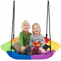 Kids Padded Crows Nest Swing Seat Set Hanging Tree Swing Seat Heights Adjustable - COSTWAY