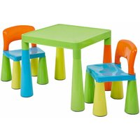 Kids Plastic Multicolour Table and 2 Chairs Set with Trumpet Legs - Multicolour