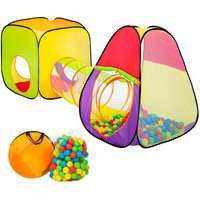 Play tent with tunnel + 200 balls pop up tent - kids pop up tent, kids tent, pop up play tent - colorful - TECTAKE