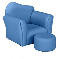 Kids Single Sofa and Pedal Set, Mini Children Leather Armchair with Wood Frame for Bedroom Playroom Furniture (Blue)
