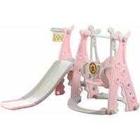 Keepbuying - Kids Slide Swing Playground Children Play House Outdoor Garden Toddler Baby Toy Pink