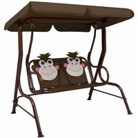 Kids Swing Bench Brown 115x75x110 cm Fabric - VIDAXL