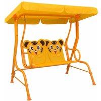 Kids Swing Bench Yellow 115x75x110 cm Fabric - Yellow