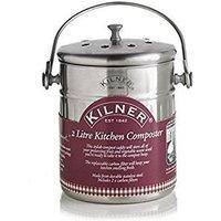Kitchen Composter - Fruit and Veg Waste - Silver - 2 Litre - Kilner