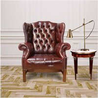 Kings Wing Chair in Leather UK Manufactured Newcastle Burgandy