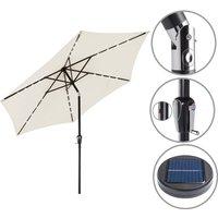 Sun Garden Parasol Lights Solar LED Umbrella Sunshade Patio 3m Shade Aluminium Cream