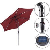 Sun Garden Parasol Lights Solar LED Umbrella Sunshade Patio 3m Shade Aluminium Red