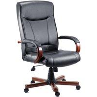 Netfurniture - Kingslow Dark Wood Office Chair Executive Bonded Leather Faced