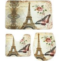 Kit of 3Pcs Anti-Slip Bath Mat Eiffel Tower Pattern