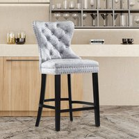 Kitchen Breakfast Counter Chairs Bar Stools Velvet Barstools Stool Chair, Silver Grey