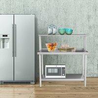 Kitchen Work Table with Backsplash 120x60x80 cm Stainless Steel