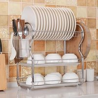 Kitchen Chrome Dish Drainer Cutlery Cup Plates Holder Sink Rack Drip Tray 3 Tier