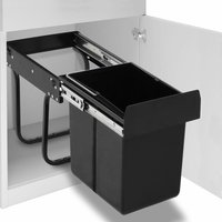 Kitchen Cupboard Pull-out Recycled Dustbin Soft-Close 20 L - Black - Vidaxl