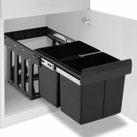Kitchen Cupboard Pull-out Recycled Dustbin Soft-Close 36 L - Black