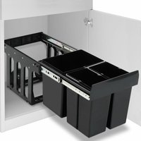 Kitchen Cupboard Pull-out Recycled Dustbin Soft-Close 48 L - Black