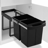 Kitchen Cupboard Pull-out Recycled Dustbin Soft-Close 48 L - VIDAXL
