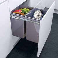 Kitchen Cupboard Pull-out Recycled Waste Bin Soft-Close 2X20L - LIVINGANDHOME