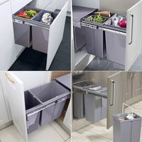 Kitchen Cupboard Pull-out Recycled Waste Bin Soft-Close 10L+20L - LIVINGANDHOME