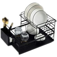 Kitchen Dish Drainer Detachable 2 Tier Dish Rack with Water Tray Utensil Holder for Countertop Dish Drying Rack Organizer Set
