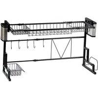 Kitchen Dish Drainer Rack Sink Draining Shelf Organizer Stainless Steel 55*26*(58-96)cm Black