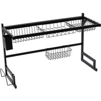 Kitchen Over The Sink Dish Drainer Drying Rack Stainless black 85CM