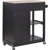 Mobile Wooden Kitchen Trolley Prep Cart with Cabinet and 2 Shelves Black Trapani