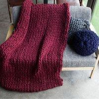KiWarm 1pcs 60x60cm Handmande Chunky Knit Blanket Thick Yarn Merino Throw Bed Sofa Decor Home Decoration Supplies Gifts (Winered, 60x60cm)