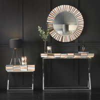 Knightsbridge Collection Rosegold Round Wall Mirror Side Table with Drawer And Mirrored Dressing Console Table with Chrome Crossed Legs